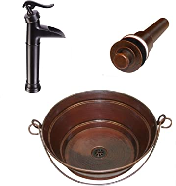 """15"""" Round Copper Vessel BUCKET Sink with 13"""" Pump Faucet and Lift"""
