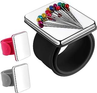 3 Piezas Alfiletero de Costura Magnética, Cojín de Aguja Magnético de Pulsera Soporte de Alfiletero para Alfileres de Acolchados Bordado Pinzas de Cabello, Pulsera de Silicona, 3 Colores