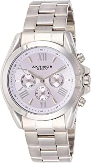 Akribos Xxiv Casual Watch Analog Display For Women Ak951Sspu, Silver Band, Stainless Steel Strap