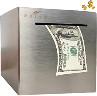 F-Five Safe Piggy Bank for Adults,Boys,Girl, Made of Stainless Stell, Safe Box Money Savings Bank for Lover,Thanks Giving ...