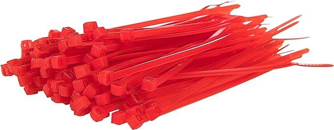 Gocableties 100 Stück Kabelbinder Rot 200 Mm X 4 8 Mm Premiumqualität Uv Beständiges Set Baumarkt