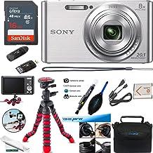Sony DSC-W830 Digital Camera (Silver) - Essential Accessories Bundle
