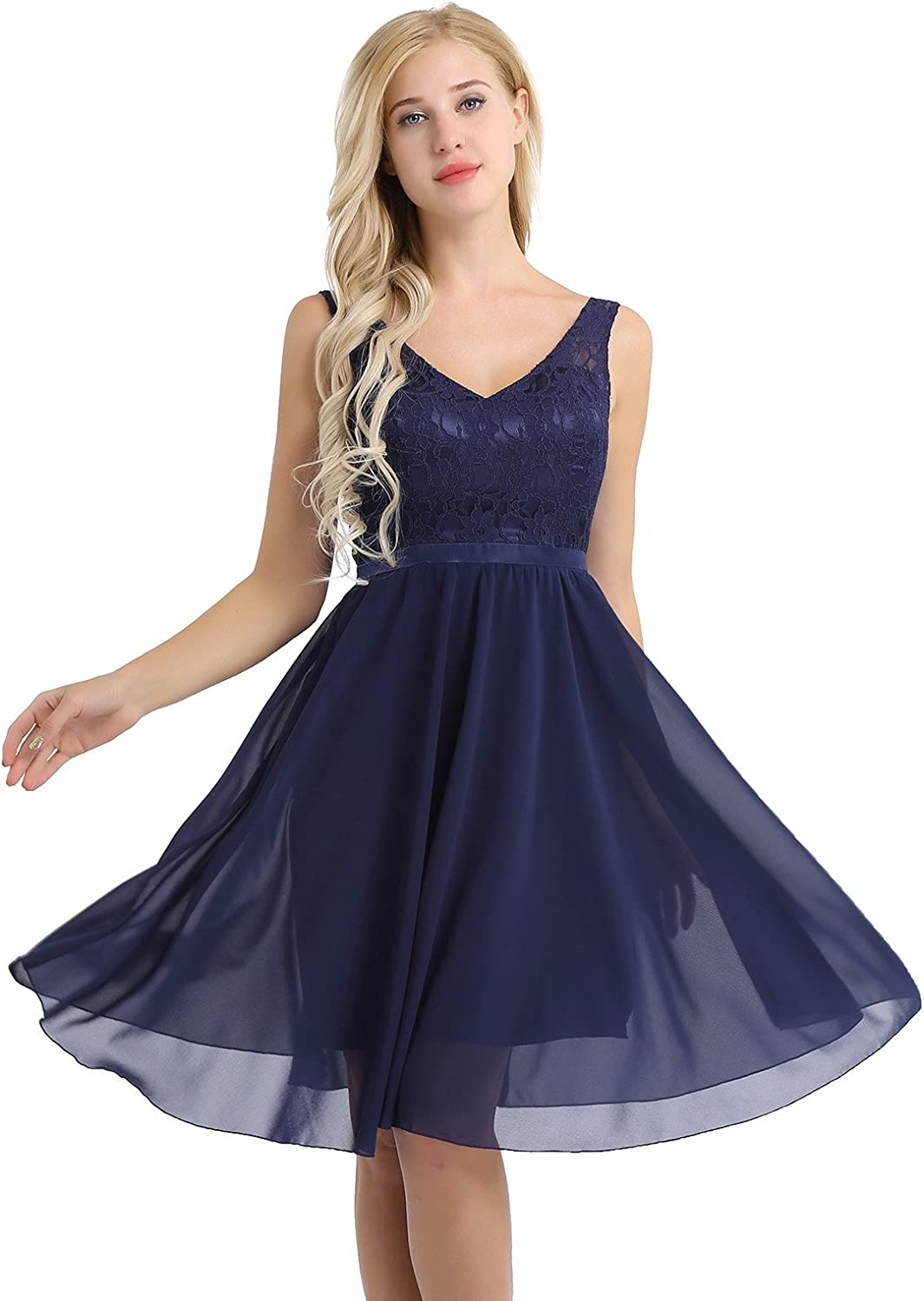ACSUSS Women's V-Neck Bridesmaid Dress Short Evening Party Gown Lace Bodice