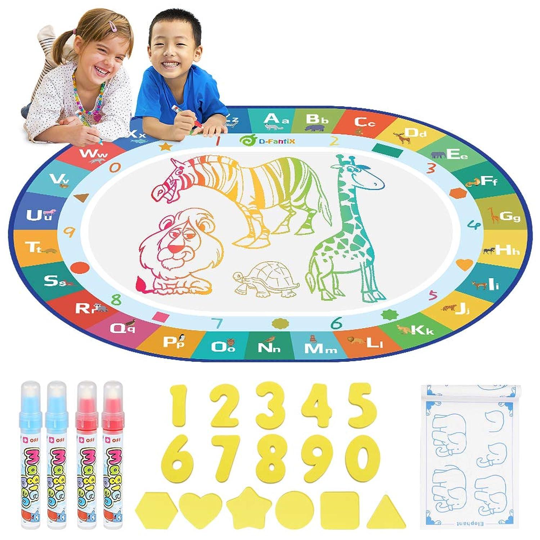D-FantiX お絵描きシート 水 おもちゃ おえかき シート 楕円形 ぬりえ 虹色 動物 水描画マット 落書きマット 幼児 子供 カラフルシート お水でお絵描き 教育玩具 4マジックペン付き 110*90cm