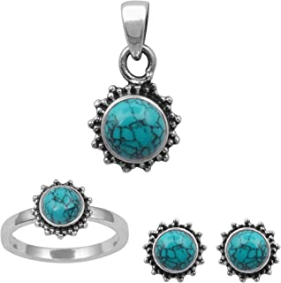 Round Blue Turquoise Jewelry Set Ring, Stud & Pendant 925 Sterling Silver For Women Love Promise Gift Jewelry