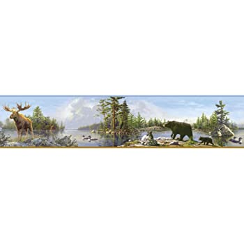 Brewster 145B64981 Northwoods Lodge American Marsh Green Wildlife Border Wallpaper