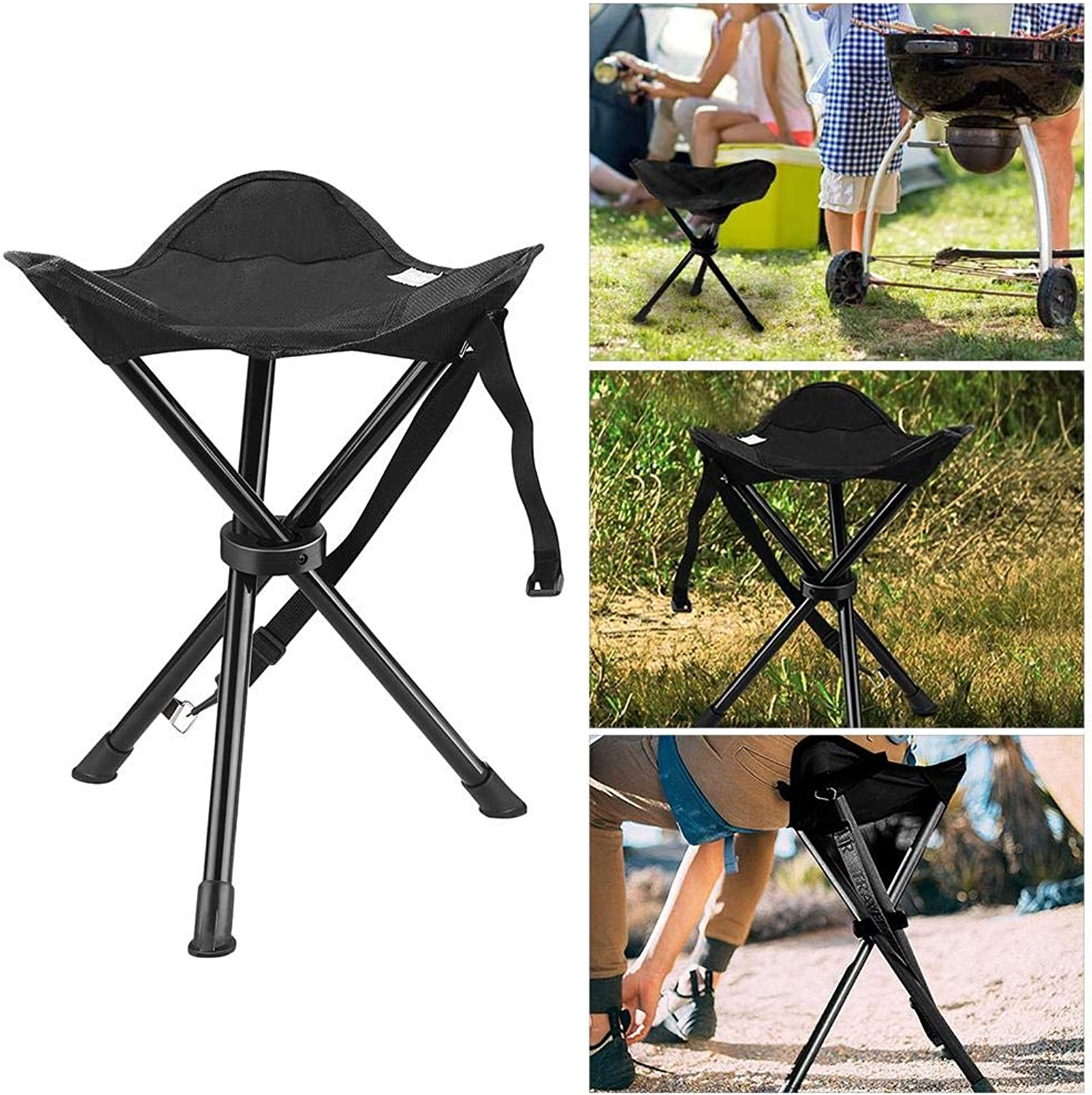 Folding Tripod Stool Portable Camping Chair, Support 260 lbs, for Fishing, Beach, Hiking