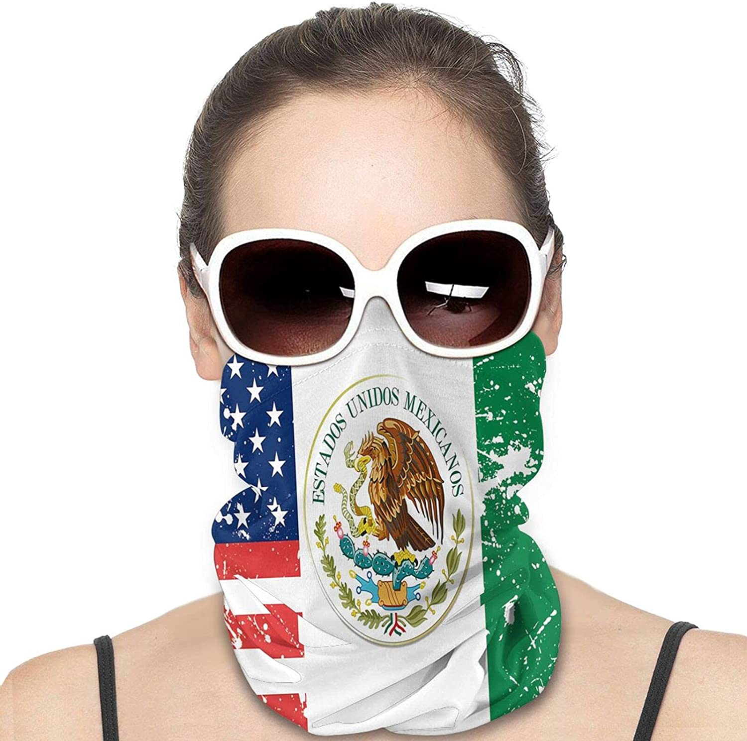Tree with Mexican Flag Round Neck Gaiter Bandnas Face Cover Uv Protection Prevent bask in Ice Scarf Headbands Perfect for Motorcycle Cycling Running Festival Raves Outdoors