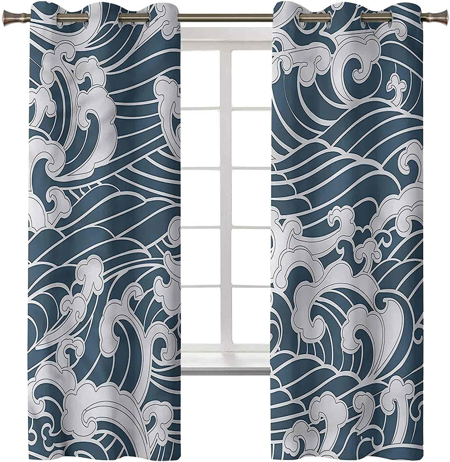 Japanese Wave Blackout Curtains Set of Panels 38W Max 66% OFF x 45L Inch 2 Max 67% OFF