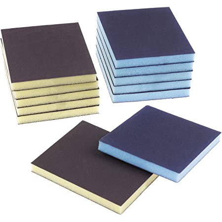12 Pieces Sanding Sponge Sanding Blocks,Reusable and Washable Sand Sponge Kit, Assortment Grade (2 Colors)
