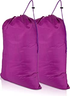 DALIX Large Travel Laundry Bag for Camp College Drawstring Bags 2 Pack Purple