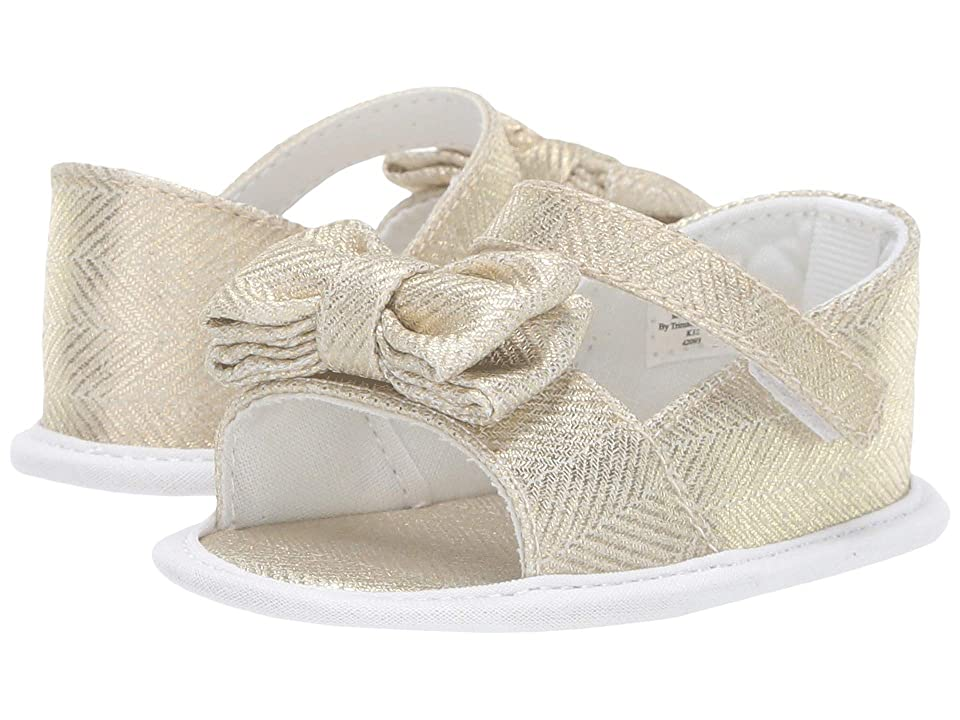 Baby Deer Peep-Toe Espadrille with Bow Waddle (Infant) (Gold/White) Girls Shoes