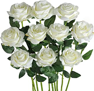 FLLOJOYA Artificial Roses for Decorations White Artificial Flowers Roses Long Stem Artificial Fake Rose for Wedding Party Home Decor/Off White Silk Rose