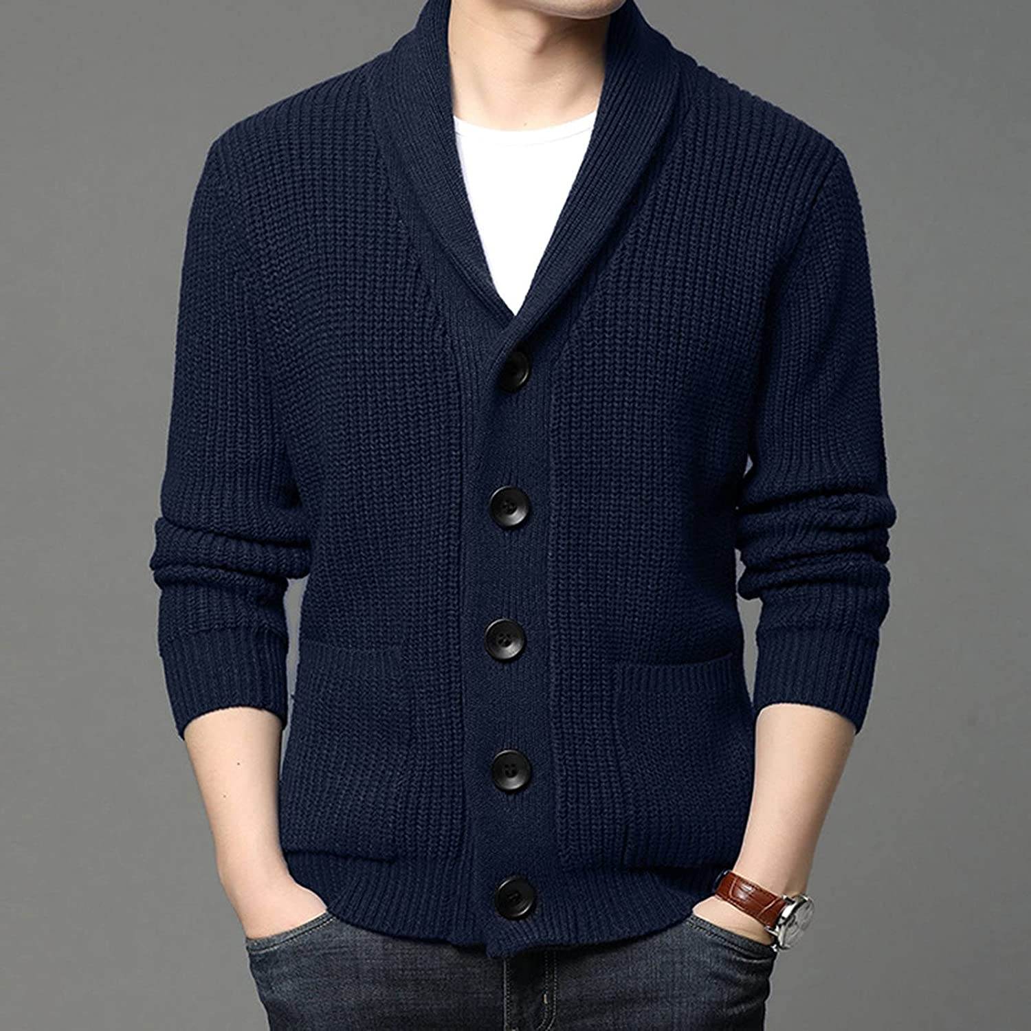 Men's Pullover Autumn and Winter O Neck Long Sleeve Solid Sweater Blouse and Scarf 2 Pieces Sets 2021