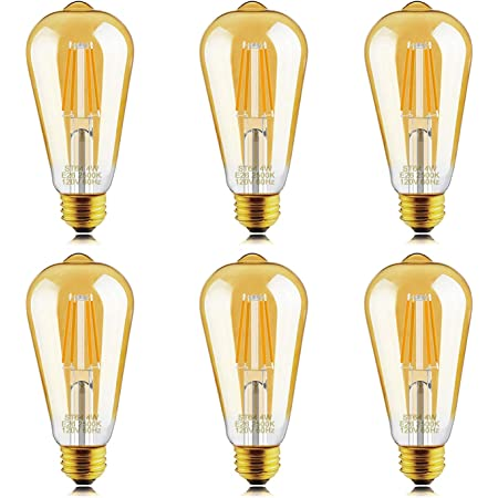 helloify Dimmable Edison, Vintage Antique Style ST19(ST64) LED Light Bulbs, 40W Incandescent Equivalent, 2500K(Amber Glass) Warm White, E26 Screw Base, 6 Packs
