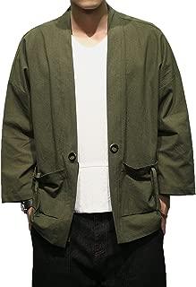 Fashion Men's Cotton Blends Linen Cloak Open Front Cardigan Kimono Jackets