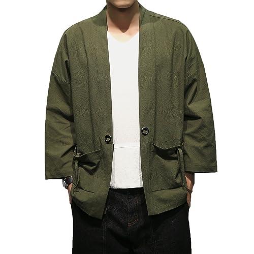 a55d19ef47f1 Mirecoo Fashion Mens Cotton Linen Blends Vintage Cloak Open Front Short Coat  One Button Jacket