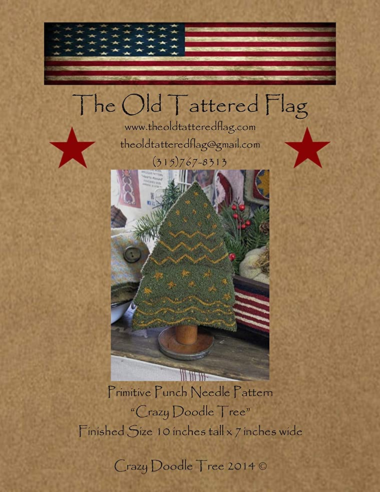 The Old Tattered Flag OTF90 Crazy Doodle Tree Punch Needle Pattern