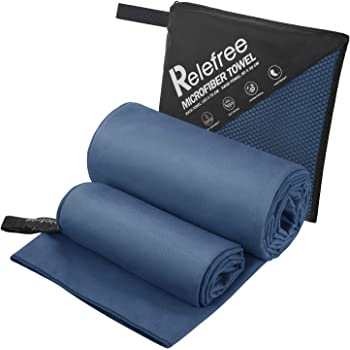 Swimming 72x40 and 12x24 inch Ultra Compact Super Absorbent XXLarge//Dark Blue Perfect for Camping Yoga Your Choice 2 Pack Microfiber Travel Beach Towel Lightweight Fast Drying