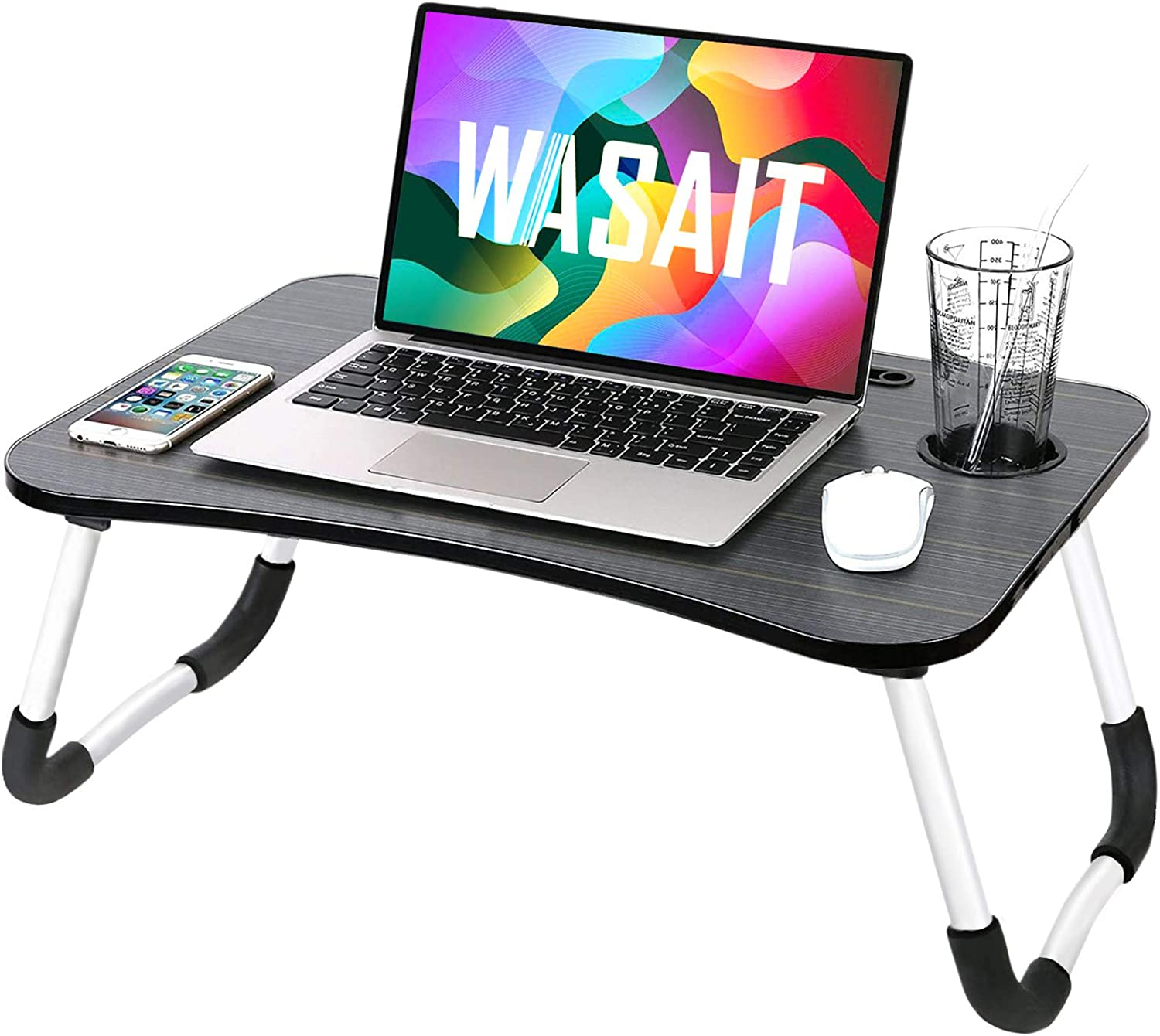 Folding Lap Desk Laptop Bed Table for Eating, Foldable Bed Tray Table Laptops Stand for Bed, Portable Laptop Workstation Desk Bed Tray with Antislip Legs, for Kids Couch Writing Reading, Black