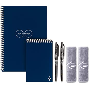 """Rocketbook Smart Reusable Notebook Set - Dot-Grid Eco-Friendly Notebook with 2 Pilot Frixion Pens & 2 Microfiber Cloths Included - Midnight Blue Covers, Executive (6"""" x 8.8"""") & Mini Size (3.5"""" x 5.5"""")"""