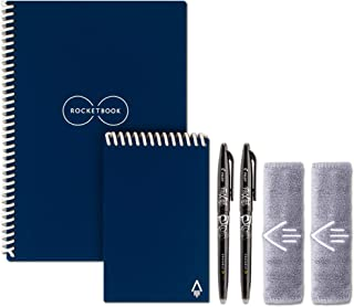 Rocketbook Everlast Executive and Mini Wirebound Notebook with 2 Pilot FriXion pens and 2 microfiber cloths, Midnight Blue (EVR EM K CDF)