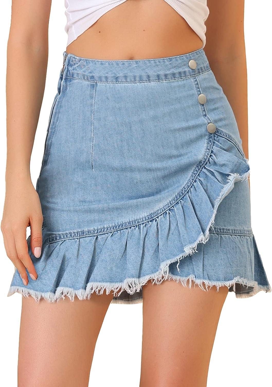 Allegra K Women's Ruffle Irregular Hem High Waist Lightweight Mini Jeans Denim Skirt