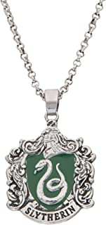 HARRY POTTER Women's and Girls Jewelry Silver Plated House Crest Pendant, 16