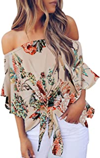 25d639f4c45786 Asvivid Women's Striped Off Shoulder Bell Sleeve Shirt Tie Knot Casual Blouses  Tops