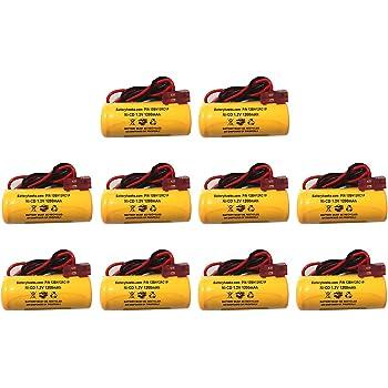 1.2V 1000mAh Exit Sign Battery Lithonia elb1p201n2 ELB1P2901N ELB1P201NLQMSW3R12277ELW NiCd Nickel Cadmium Emergency Light 1200mAh 1400mah 1ah 1.2ah red Connector (10 Pack)