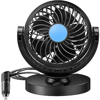 EXCOUP Ventilateur Voiture 12V Car Auto Fan Stepless Rotation Variable 360 Rotating Ventouse Silencieux Auto Air Refroidissement Ventilateur Allume Cigare Ventilateur d/ét/é Refroidissement Fan