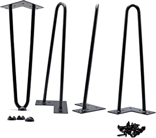 12 Inch Hairpin Legs 7.95 lbs(Ours) v 4.35 lbs(Others) True Heavy Duty and Double Weld 1/2 v 3/8 inch Diameter Heavy Duty Free Rubber Feet and Screws Included by Homeland Hardware