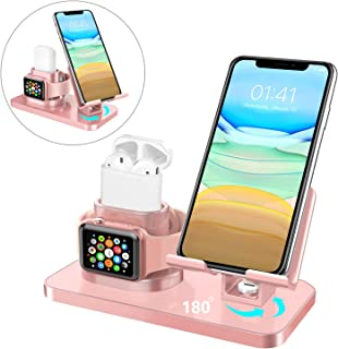 BENTOBEN 3 in 1 Charging Stand for Apple Watch(iWatch Series 5/4/3/2/1), Airpods, iPad Stand, iPhone Stand(11/XS MAX/XR/XS/8/8 Plus/7/7 Plus/6/6 Plus), Tablet Stand(Original Cable Required), Rose Gold