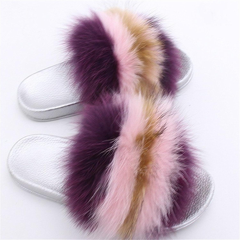 QMFUR Women Real Fox Fur Slippers Lady Fashion Multicolor Fur Black Glod Silver Sole Slipper True Fox Fur (12, Silver-B)