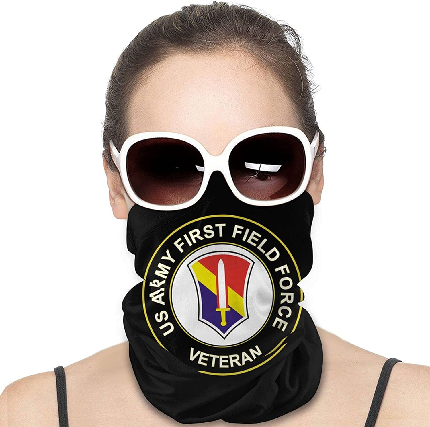 U.S. Army First Field Force Veteran Round Neck Gaiter Bandnas Face Cover Uv Protection Prevent bask in Ice Scarf Headbands Perfect for Motorcycle Cycling Running Festival Raves Outdoors