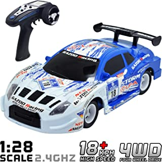 VOLANTEXRC Remote Control Car 1:24 Scale Drift RC Car 20mph High Speed Radio Contorlled Vechicle RTR with Gyro, Gear & Ball Bearing for Kids or Adults, Boys or Girls (785-4 Blue)