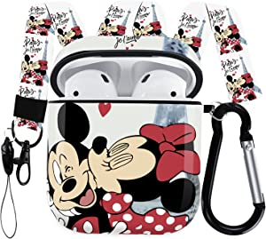 Airpods Case Designed for Apple AirPods 2 & 1,Full Protective Case Cover with Keychain and Lanyard,Shockproof Anti Case for Airpods Charging Case (Mickey and Minnie)