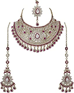 Indian Bollywood Style Fashion Gold Plated Bridal Jewelry Necklace Earring Set for Women