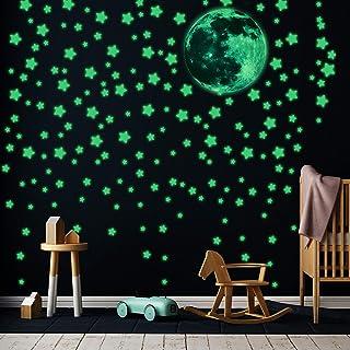 453 Pegatinas Luminosas Pegatinas de Estrellas Fluorescentes de Pared Calcomanías de Pegatinas de Estrellas Lunas Brillantes Pegatinas de Pared Techo 3D Adhesivos Luminosos para Habitación Dormitorio