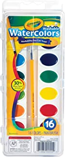 Crayola Washable Watercolor Paint Set with Brush, 16 Bright Colours, Painting Kit for Young Artists, Students & Beginners
