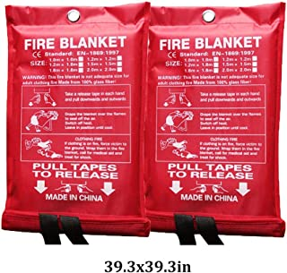 Emergency Blanket Kitchen Surival Fire Blanket Flame Retardant Protection Heat Insulation Fire Suppression Blanket for Kitchen,Fireplace,Car,Office,Warehouse (Color : White, Size : 39.3x39.3inch)
