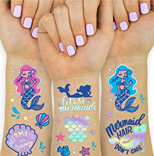 xo, Fetti Mermaid Party Supplies Temporary Tattoos for Kids - 24 Glitter Styles | Mermaid Birthday Party Favors, Mermaid T...