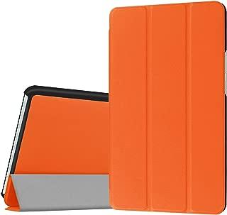 Asng NTT docomo dtab d-03G / dtab Compact d-01J / Huawei MediaPad M3 8.4 ケース 三つ折りスタンドカバー 傷つけ防止 スマートカバー 超薄型 超軽量 内蔵マグネット 開閉式 PUレザーケース (オレンジ)