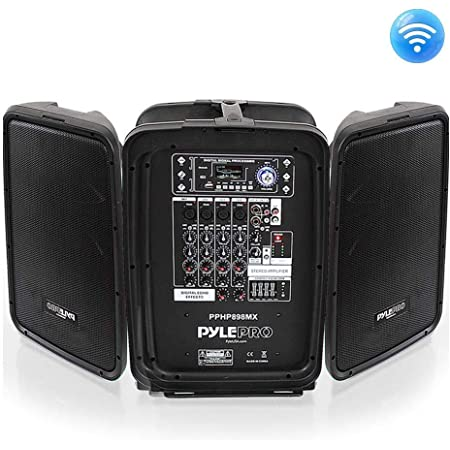 """Pyle PPHP898MX 600 Watt 8-Channel Portable Bluetooth Wireless PA Speaker Amplifier Kit with 8"""" Subwoofer and 1"""" Horn Tweeter, MP3, AUX - USB Xlr 1/4"""" RCA"""