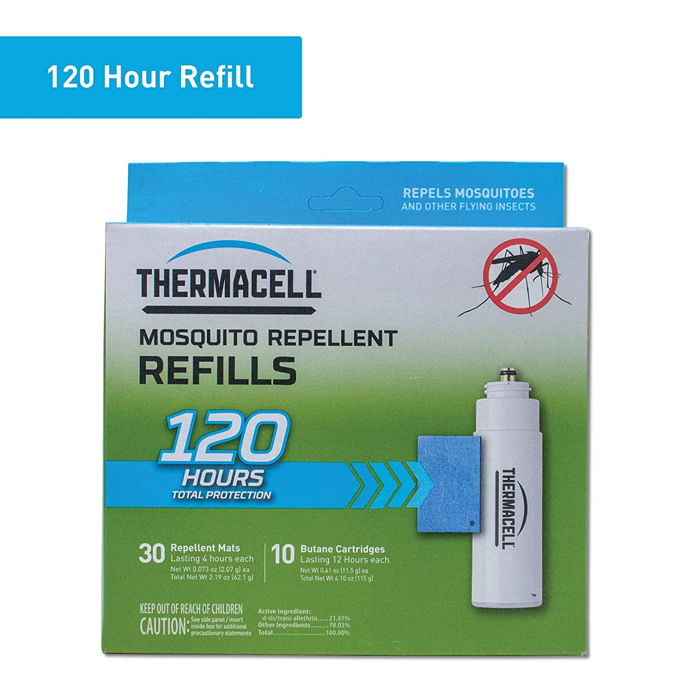 Thermacell Mosquito Repellent Refills, 120-Hr Pack; Contains 30 Repellent Mats, 10 Fuel Cartridges; Compatible with Any Fuel-Powered Product; No Spray, Scent, Mess; 15 Ft Zone of Protection