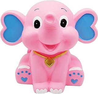 H&W 可愛い 象 貯金箱 メタルバンク 置物飾り 子供へのプレゼント、ピンク (WK3-D1)