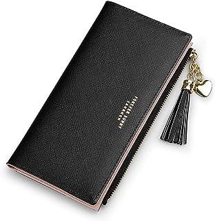 Slim Wallet for Women Long Tassel Zipper Clutch Purse Handbag Card Case Wallet (Black)
