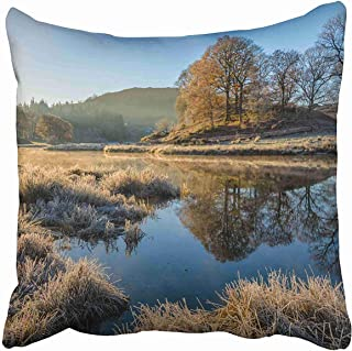 Abaysto Blue Marsh Glowing Golden Light Shining on Autumnal Frosty Scene at The River Brathay Lake District UK Pillow Cases Cushion Case Size 18x18 Inches Personalized Customize