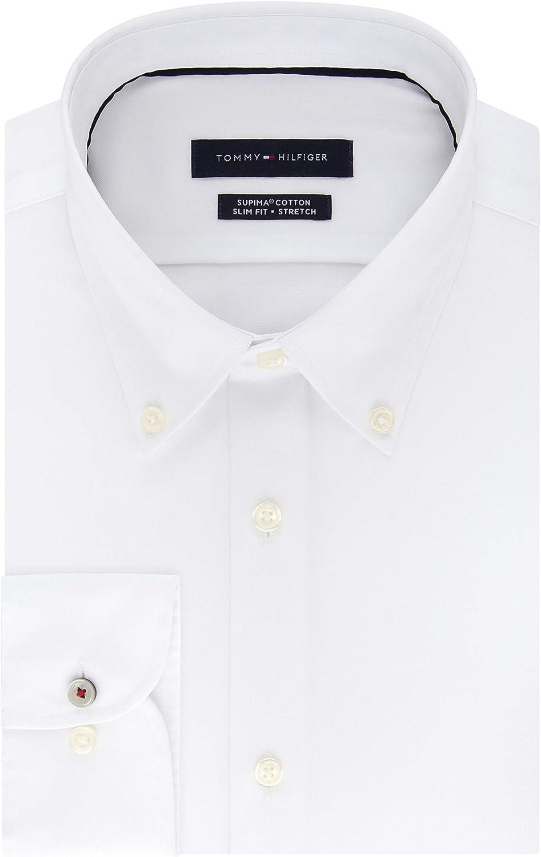 Tommy Hilfiger Men's Dress Shirt Slim Fit Stretch Solid Buttondown Collar