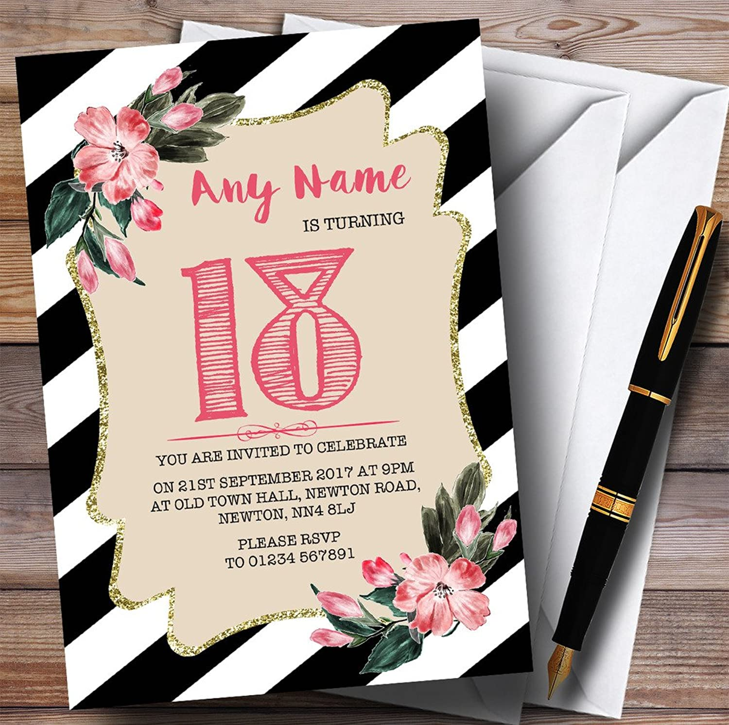 a53e91128bf White Striped Flower 18th Personalised Birthday Party Invitations Black  Pink nvooel2315-new toys